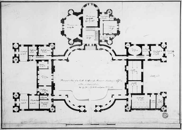 Robert adam designs in the castle style for Chateau blueprints