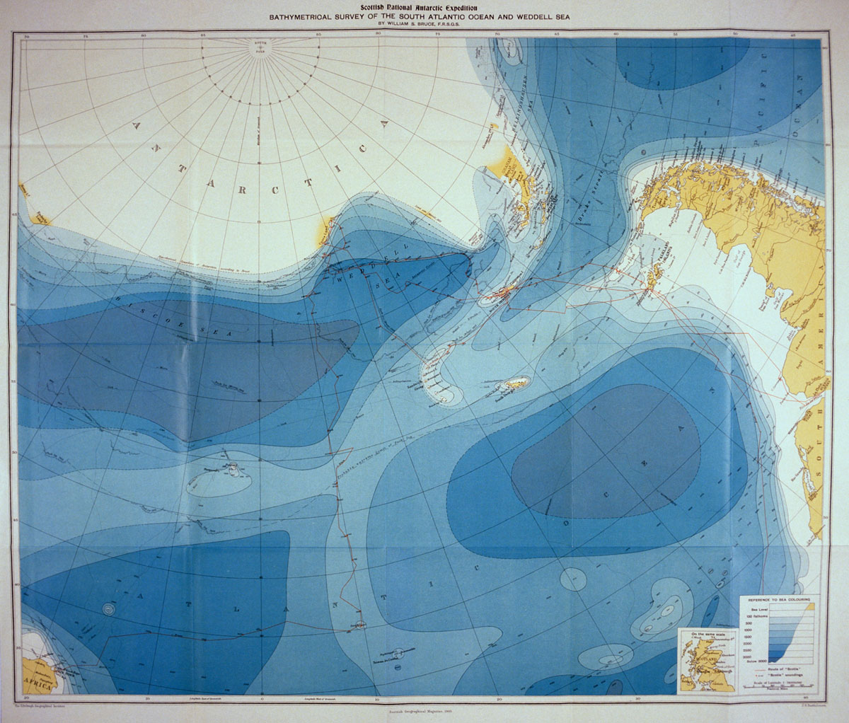 Bathymetrical survey of the South Atlantic Ocean and the Weddell Sea