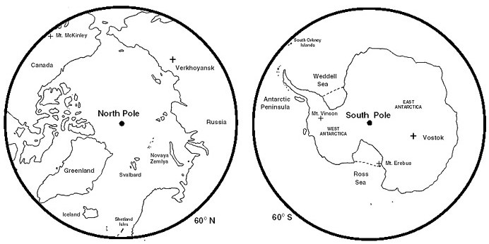 Scotland and the antarctic comparison of arctic and antarctic regions outline maps of the arctic and antarctic gumiabroncs Choice Image